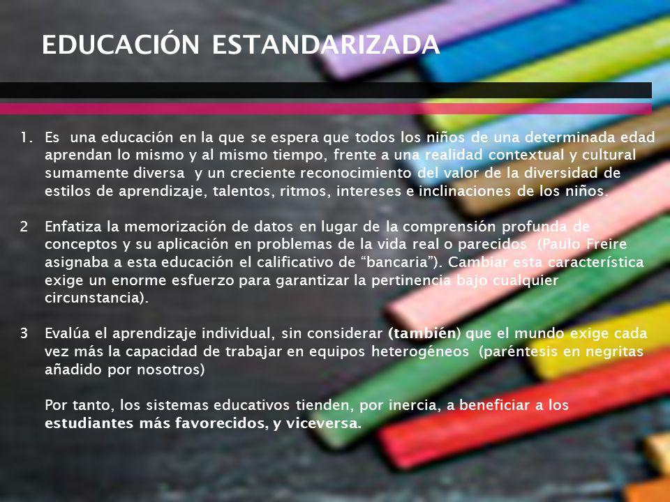 07/06/2014Consideraciones para definir la agenda educativa 35 EDUCACIÓN ESTANDARIZADA 1.Es una educación en la que se espera que todos los niños de un