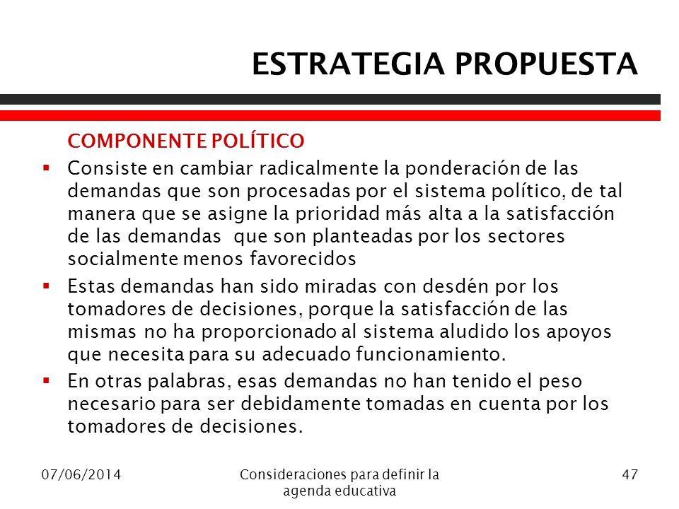 ESTRATEGIA PROPUESTA COMPONENTE POLÍTICO Consiste en cambiar radicalmente la ponderación de las demandas que son procesadas por el sistema político, d