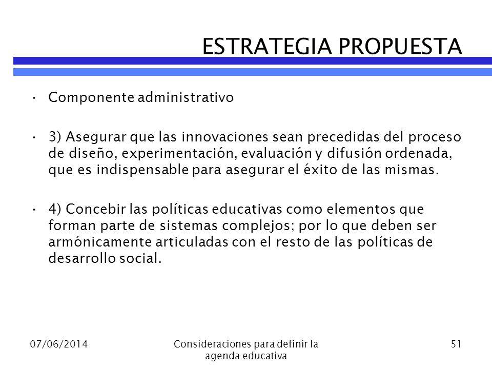 Componente administrativo 3) Asegurar que las innovaciones sean precedidas del proceso de diseño, experimentación, evaluación y difusión ordenada, que