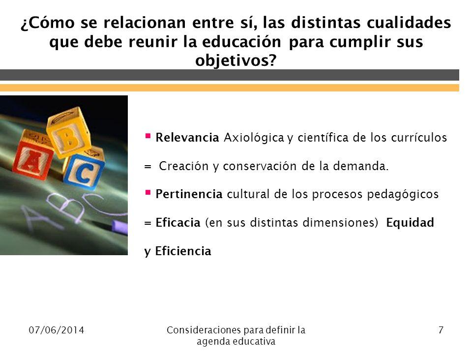 07/06/2014Consideraciones para definir la agenda educativa 7 ¿Cómo se relacionan entre sí, las distintas cualidades que debe reunir la educación para cumplir sus objetivos.