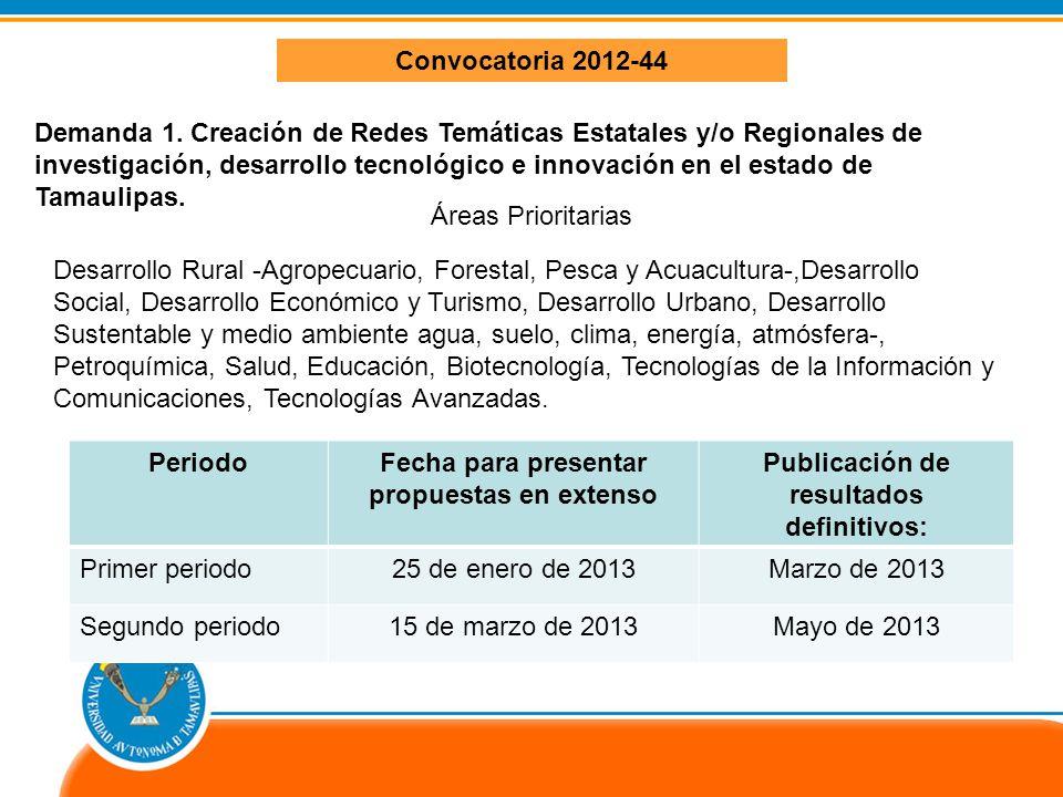 Dirección de Investigación Científica IDENTIFICACIÓN DE DEMANDAS Convocatoria 2012-44 Demanda 1.