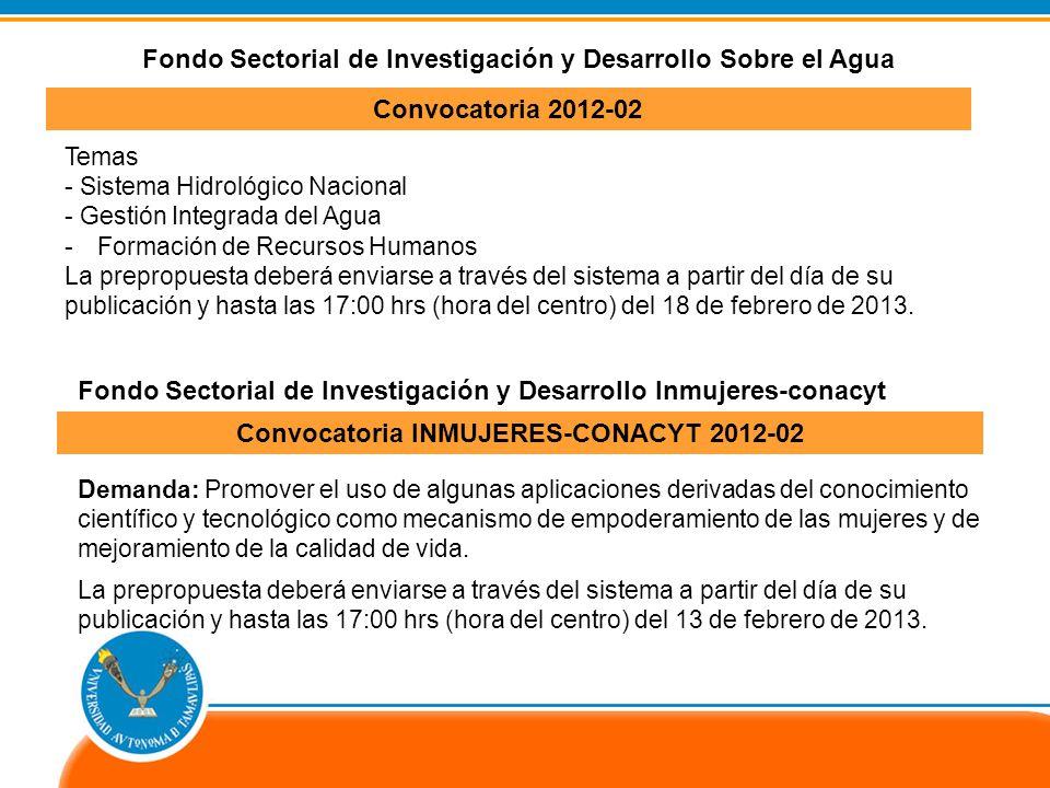Temas - Sistema Hidrológico Nacional - Gestión Integrada del Agua -Formación de Recursos Humanos La prepropuesta deberá enviarse a través del sistema a partir del día de su publicación y hasta las 17:00 hrs (hora del centro) del 18 de febrero de 2013.
