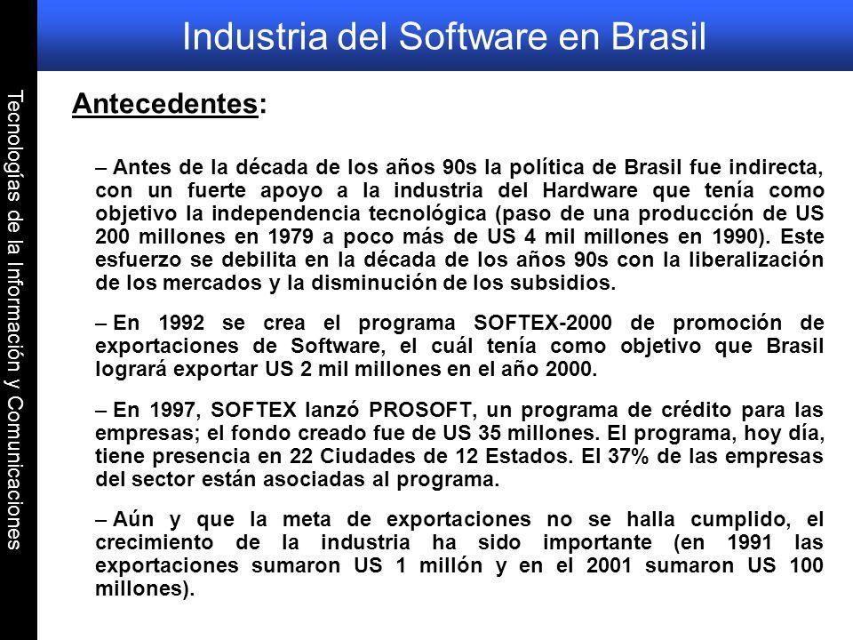 Tecnologías de la Información y Comunicaciones Industria del Software en Brasil Antecedentes: – Antes de la década de los años 90s la política de Bras