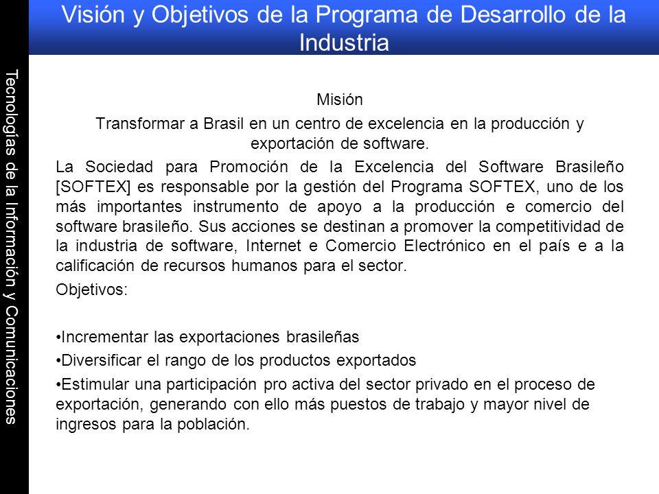 Tecnologías de la Información y Comunicaciones Visión y Objetivos de la Programa de Desarrollo de la Industria Misión Transformar a Brasil en un centr