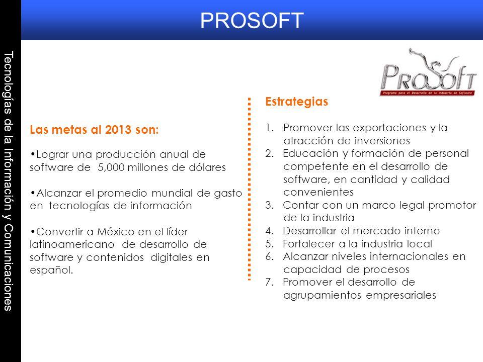 Tecnologías de la Información y Comunicaciones Las metas al 2013 son: Lograr una producción anual de software de 5,000 millones de dólares Alcanzar el
