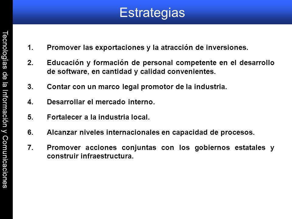 Tecnologías de la Información y Comunicaciones Estrategias 1.Promover las exportaciones y la atracción de inversiones. 2.Educación y formación de pers