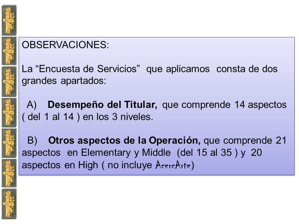 OBSERVACIONES: La Encuesta de Servicios que aplicamos consta de dos grandes apartados: A) Desempeño del Titular, que comprende 14 aspectos ( del 1 al