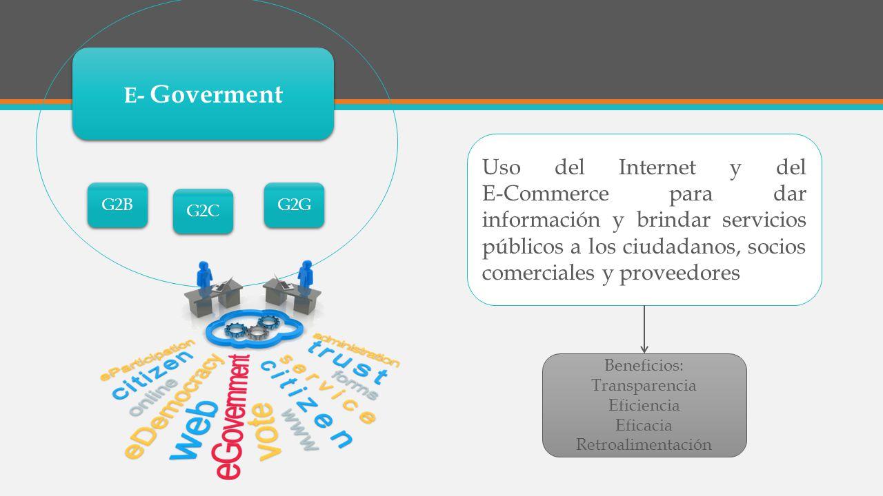 E- Goverment Uso del Internet y del E-Commerce para dar información y brindar servicios públicos a los ciudadanos, socios comerciales y proveedores G2B G2C G2G Beneficios: Transparencia Eficiencia Eficacia Retroalimentación