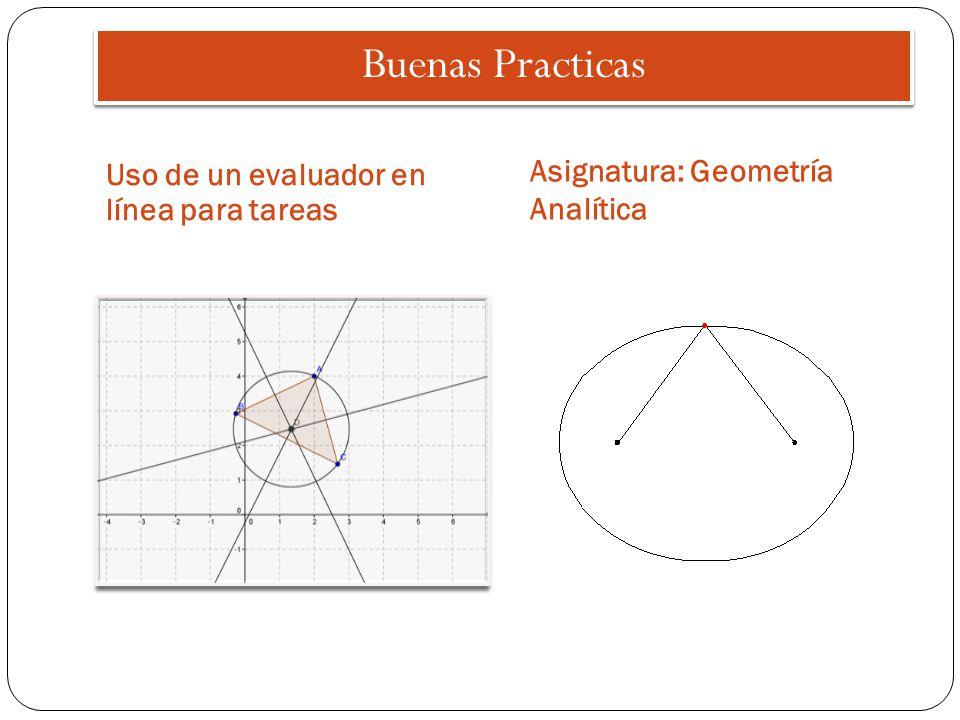 Buenas Practicas Uso de un evaluador en línea para tareas Asignatura: Geometría Analítica