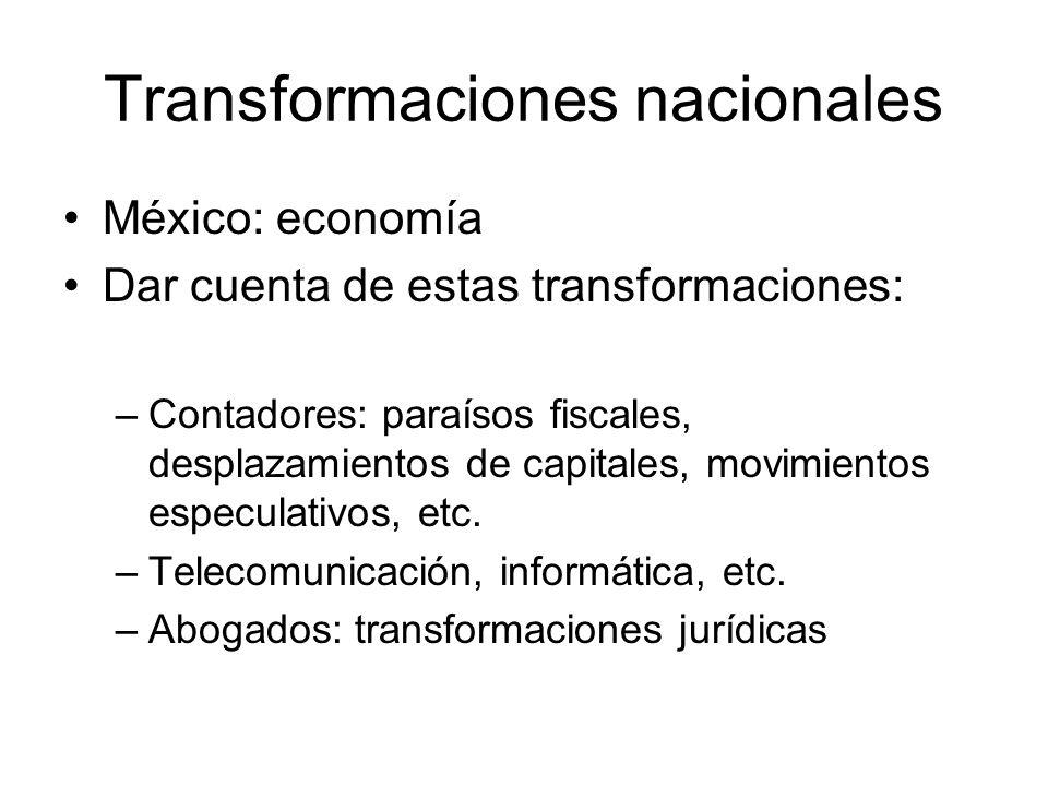 Transformaciones nacionales México: economía Dar cuenta de estas transformaciones: –Contadores: paraísos fiscales, desplazamientos de capitales, movimientos especulativos, etc.