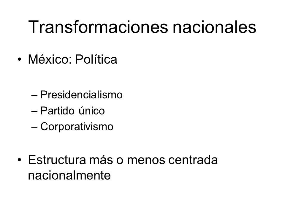 Transformaciones nacionales México: Política –Presidencialismo –Partido único –Corporativismo Estructura más o menos centrada nacionalmente