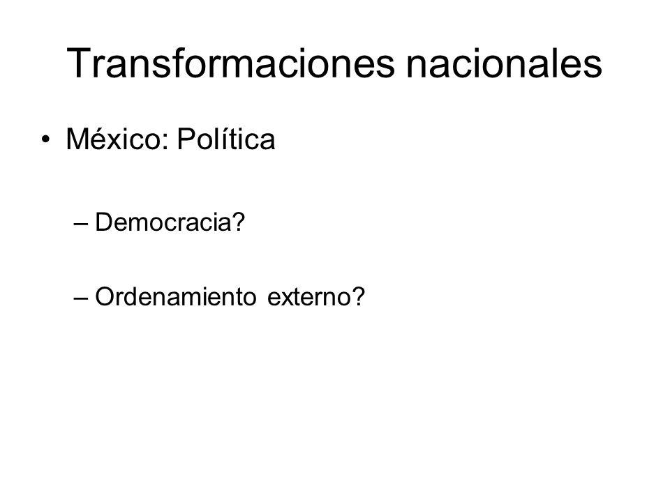 Transformaciones nacionales México: Política –Democracia? –Ordenamiento externo?