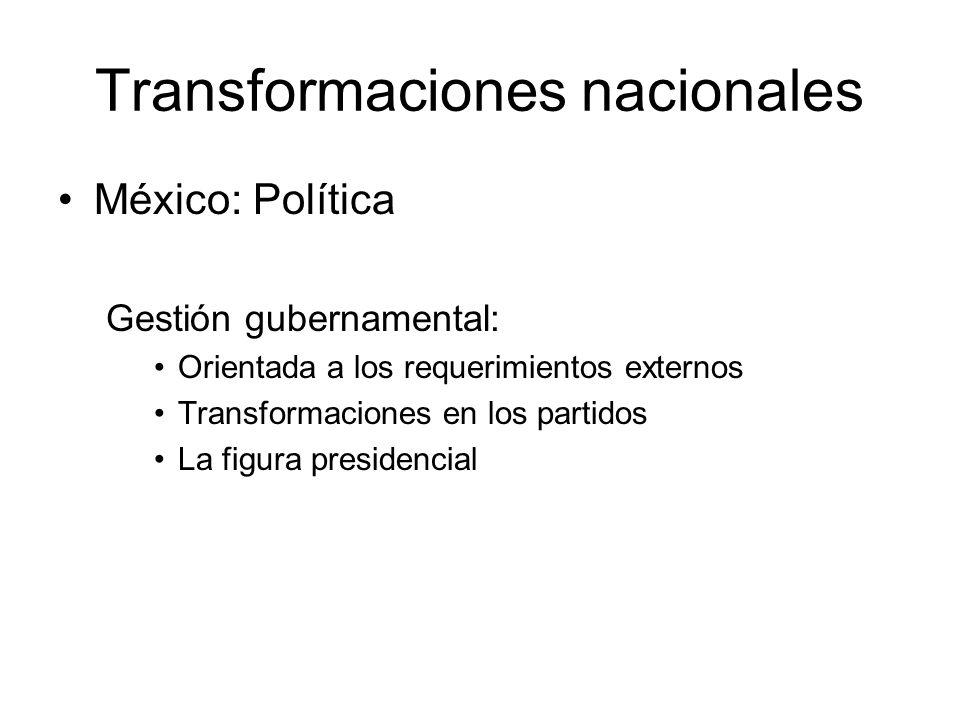 Transformaciones nacionales México: Política Gestión gubernamental: Orientada a los requerimientos externos Transformaciones en los partidos La figura presidencial