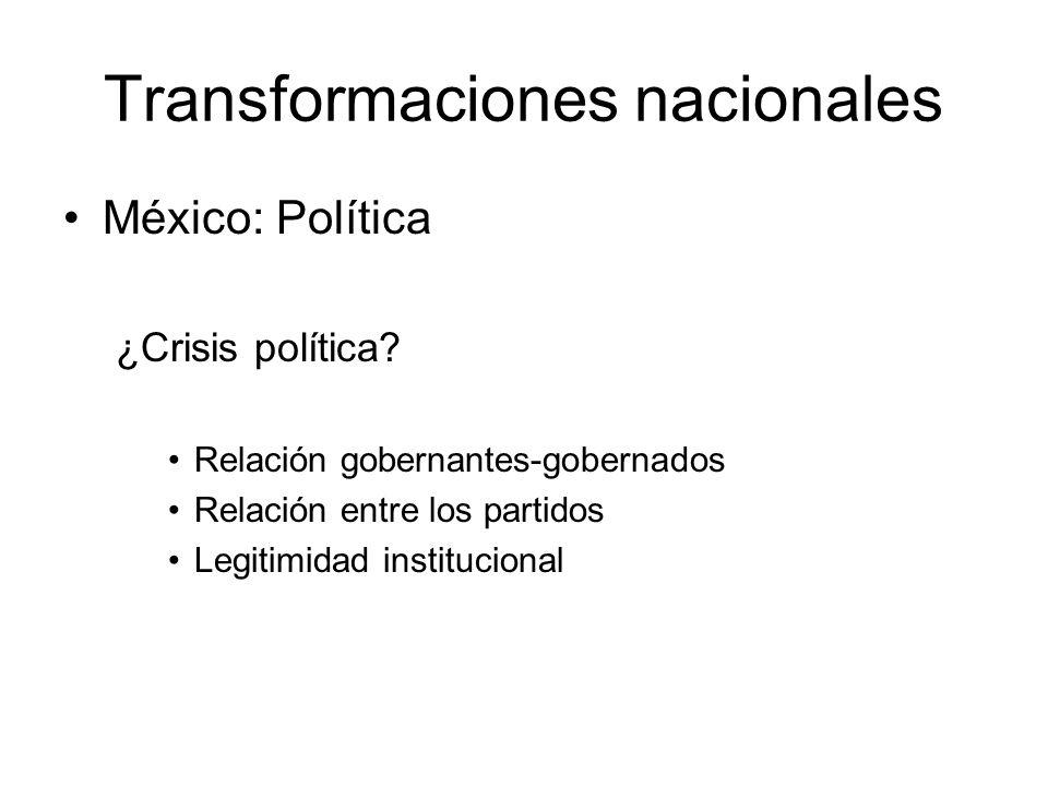 Transformaciones nacionales México: Política ¿Crisis política? Relación gobernantes-gobernados Relación entre los partidos Legitimidad institucional
