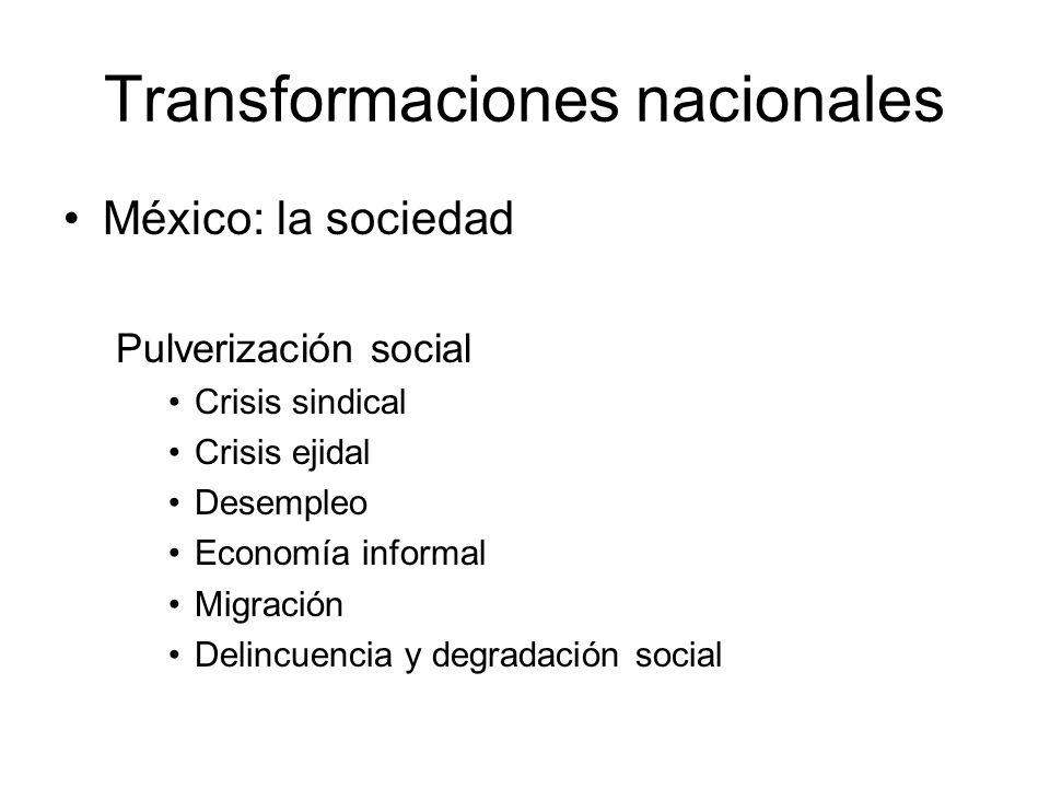 Transformaciones nacionales México: la sociedad Pulverización social Crisis sindical Crisis ejidal Desempleo Economía informal Migración Delincuencia