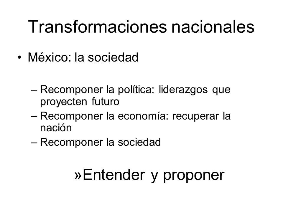 Transformaciones nacionales México: la sociedad –Recomponer la política: liderazgos que proyecten futuro –Recomponer la economía: recuperar la nación –Recomponer la sociedad »Entender y proponer