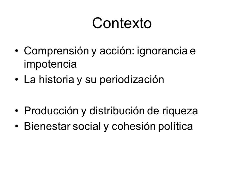 Contexto Comprensión y acción: ignorancia e impotencia La historia y su periodización Producción y distribución de riqueza Bienestar social y cohesión