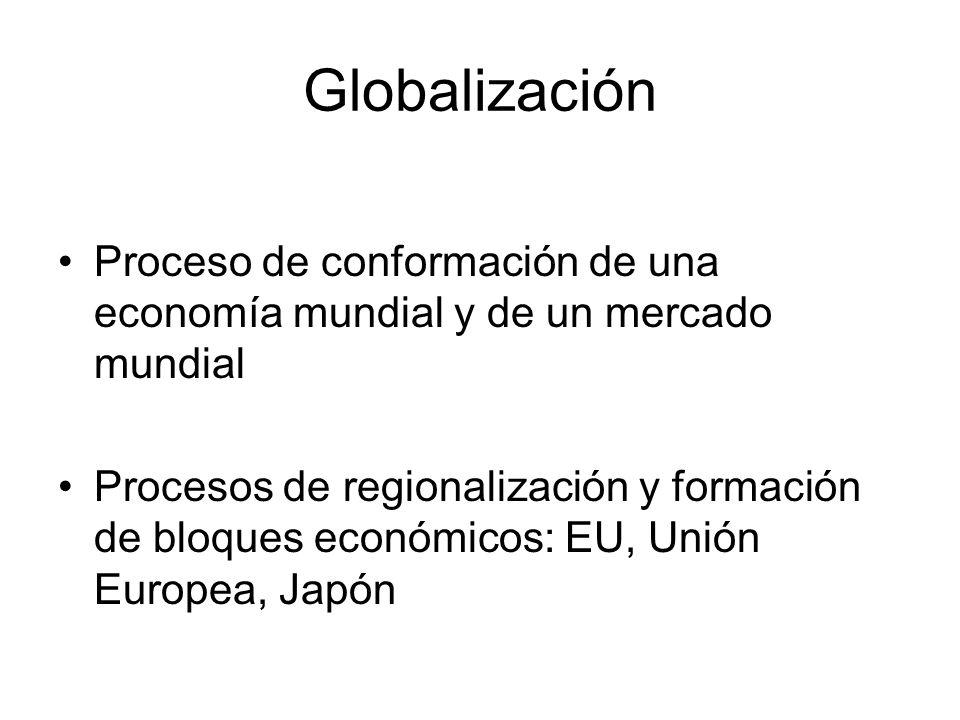 Globalización Proceso de conformación de una economía mundial y de un mercado mundial Procesos de regionalización y formación de bloques económicos: EU, Unión Europea, Japón