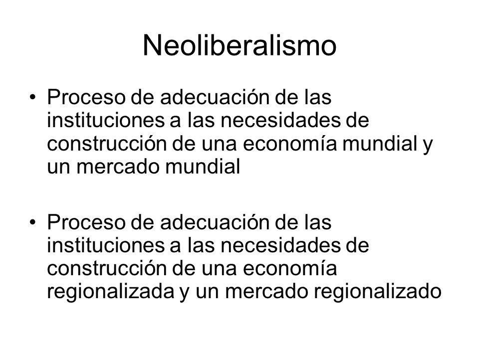 Neoliberalismo Proceso de adecuación de las instituciones a las necesidades de construcción de una economía mundial y un mercado mundial Proceso de adecuación de las instituciones a las necesidades de construcción de una economía regionalizada y un mercado regionalizado