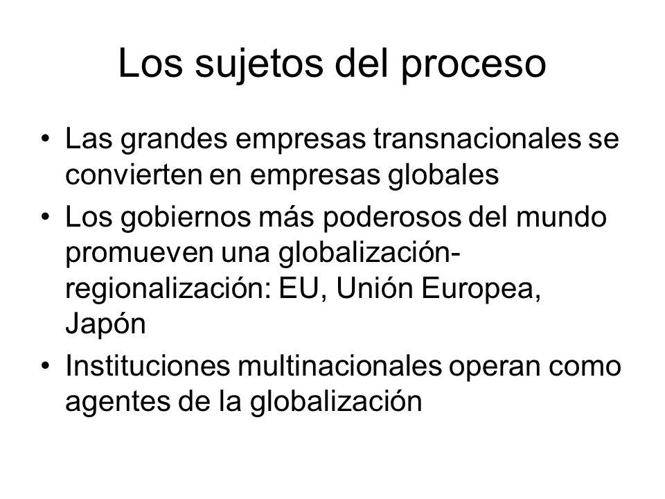 Los sujetos del proceso Las grandes empresas transnacionales se convierten en empresas globales Los gobiernos más poderosos del mundo promueven una globalización- regionalización: EU, Unión Europea, Japón Instituciones multinacionales operan como agentes de la globalización