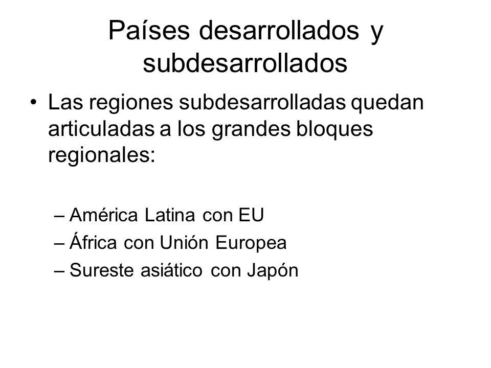 Países desarrollados y subdesarrollados Las regiones subdesarrolladas quedan articuladas a los grandes bloques regionales: –América Latina con EU –África con Unión Europea –Sureste asiático con Japón