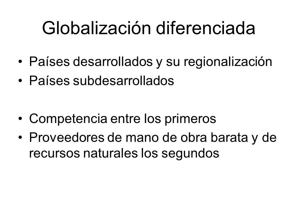 Globalización diferenciada Países desarrollados y su regionalización Países subdesarrollados Competencia entre los primeros Proveedores de mano de obra barata y de recursos naturales los segundos