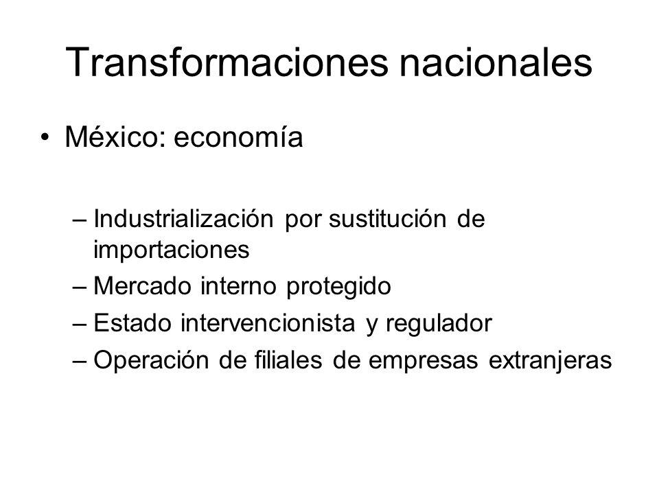 Transformaciones nacionales México: economía –Industrialización por sustitución de importaciones –Mercado interno protegido –Estado intervencionista y regulador –Operación de filiales de empresas extranjeras