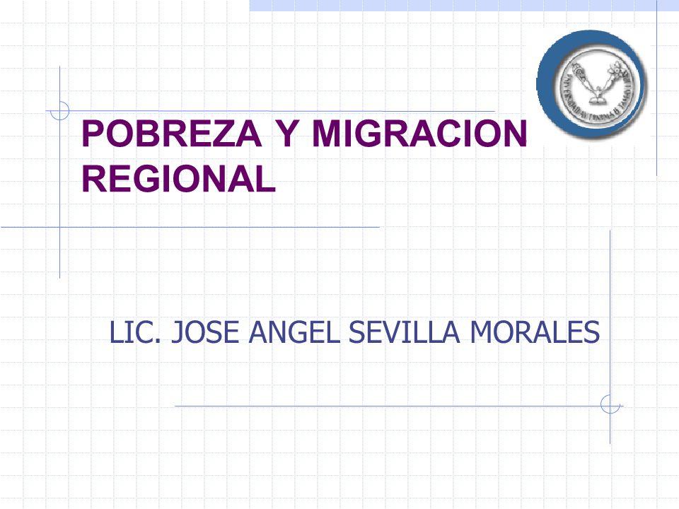 POBREZA Y MIGRACION REGIONAL LIC. JOSE ANGEL SEVILLA MORALES