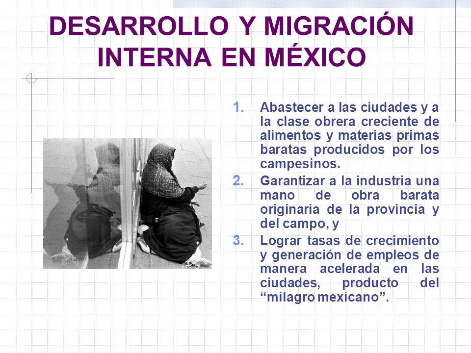 DESARROLLO Y MIGRACIÓN INTERNA EN MÉXICO 1. Abastecer a las ciudades y a la clase obrera creciente de alimentos y materias primas baratas producidos p