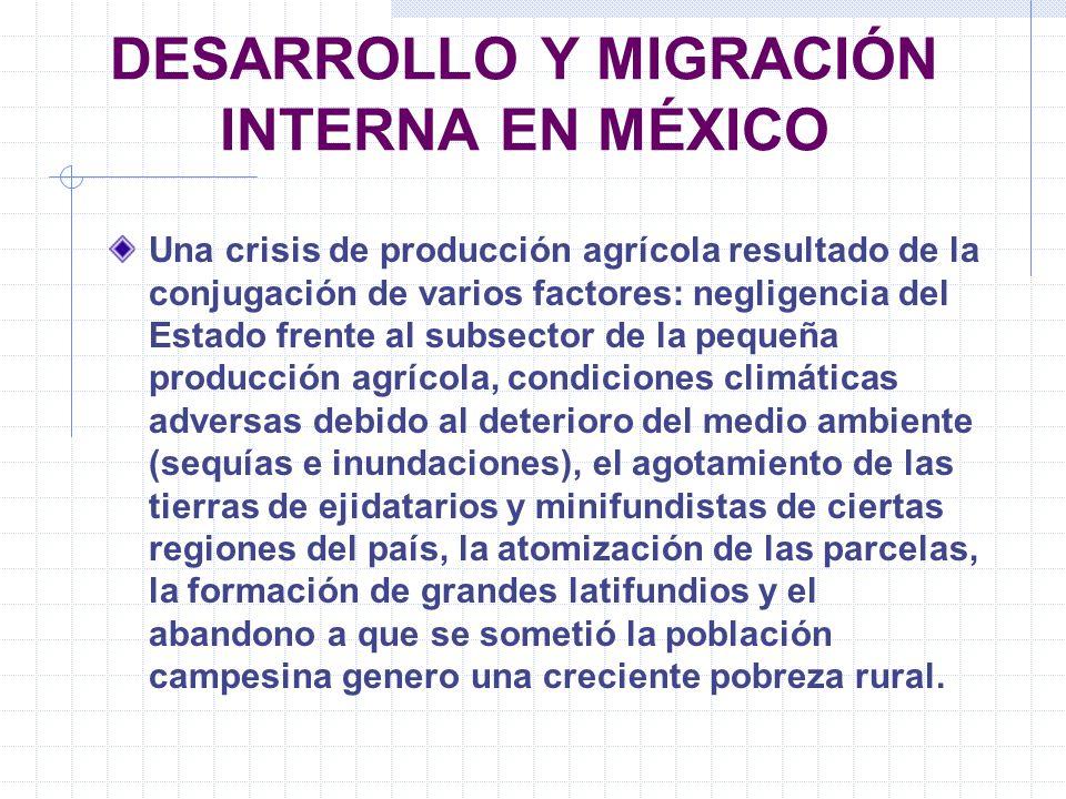 DESARROLLO Y MIGRACIÓN INTERNA EN MÉXICO Una crisis de producción agrícola resultado de la conjugación de varios factores: negligencia del Estado fren