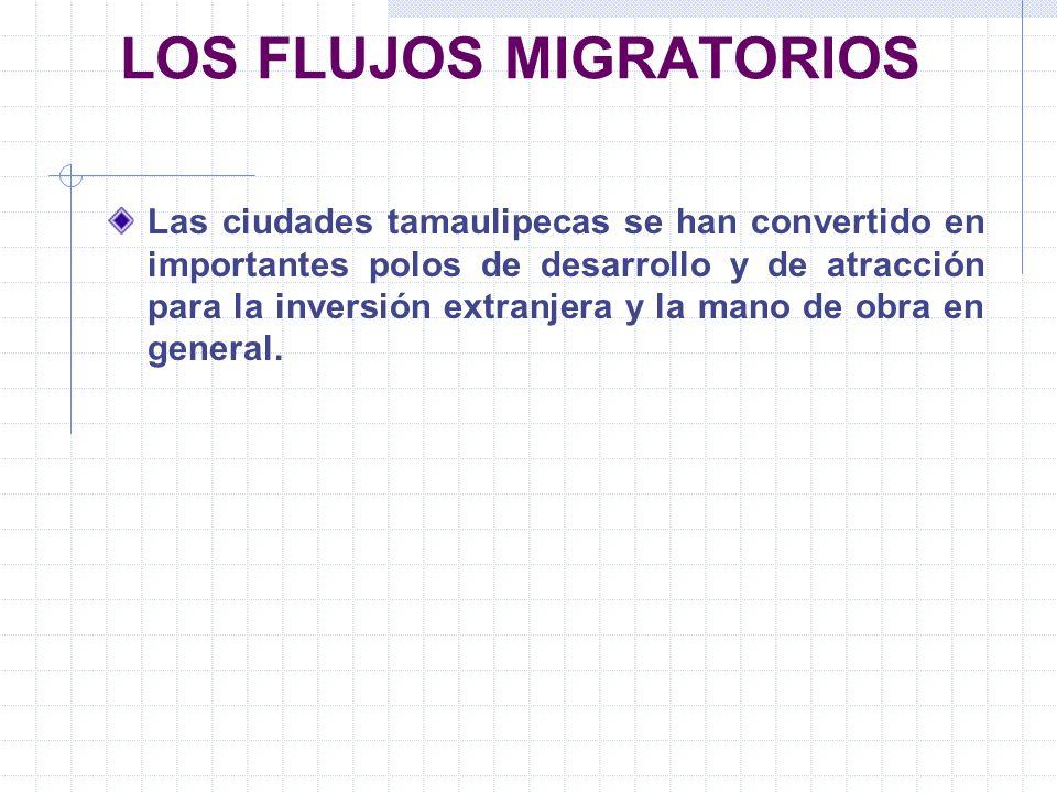 LOS FLUJOS MIGRATORIOS Las ciudades tamaulipecas se han convertido en importantes polos de desarrollo y de atracción para la inversión extranjera y la