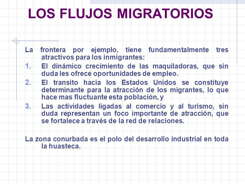 LOS FLUJOS MIGRATORIOS La frontera por ejemplo, tiene fundamentalmente tres atractivos para los inmigrantes: 1. El dinámico crecimiento de las maquila