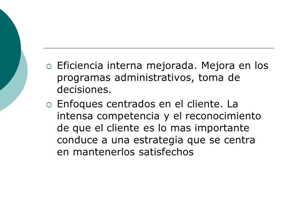Eficiencia interna mejorada. Mejora en los programas administrativos, toma de decisiones. Enfoques centrados en el cliente. La intensa competencia y e
