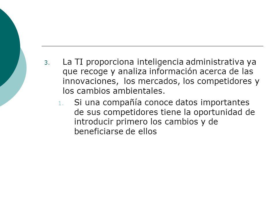 3. La TI proporciona inteligencia administrativa ya que recoge y analiza información acerca de las innovaciones, los mercados, los competidores y los