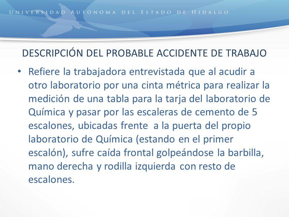 Posteriormente la persona lesionada se levantó, fue por el material, lo entrega al intendente Jesús Aguayo y acude con la responsable del Servicio Médico Universitario, quien después de revisarla le recomienda acudir al servicio de urgencias del IMSS.