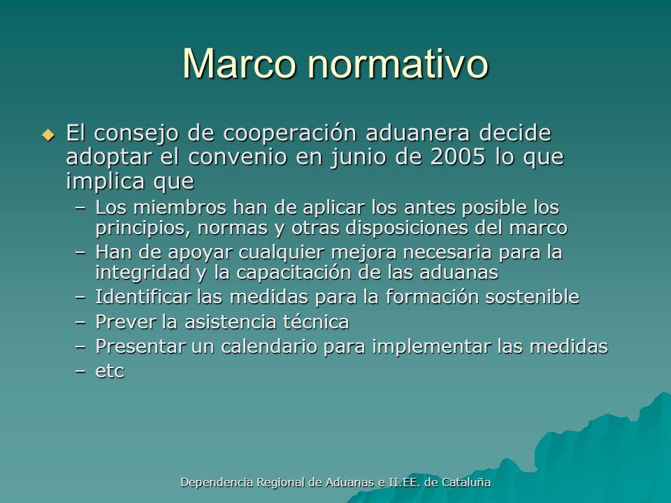 Dependencia Regional de Aduanas e II.EE. de Cataluña MARCO NORMATIVO PARA ASEGURAR EL COMERCIO GLOBAL Enero 2008