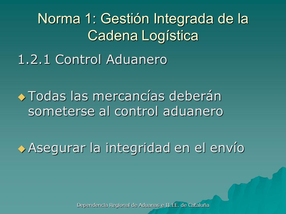 Dependencia Regional de Aduanas e II.EE. de Cataluña Norma 1: Gestión Integrada de la Cadena Logística 1.1 Alcance Contar con competencias legales apr