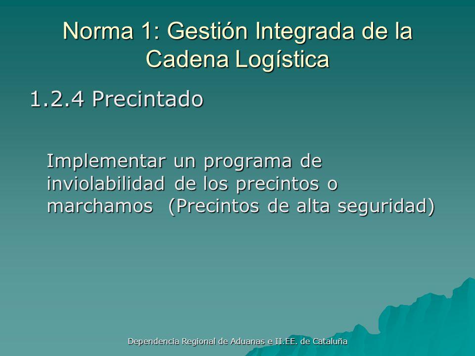Dependencia Regional de Aduanas e II.EE. de Cataluña Norma 1: Gestión Integrada de la Cadena Logística 1.2.3 Controles en el lugar de partida Se debe