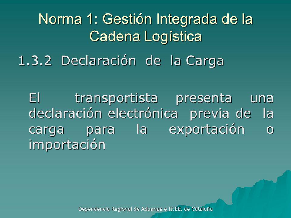 Dependencia Regional de Aduanas e II.EE. de Cataluña Norma 1: Gestión Integrada de la Cadena Logística 1.3.1 Declaración de Exportación de las Mercanc