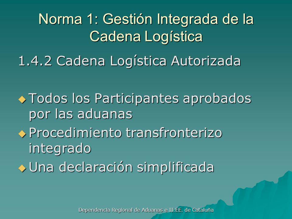 Dependencia Regional de Aduanas e II.EE. de Cataluña Norma 1: Gestión Integrada de la Cadena Logística 1.4.1 Operadores Económicos Autorizados Procedi