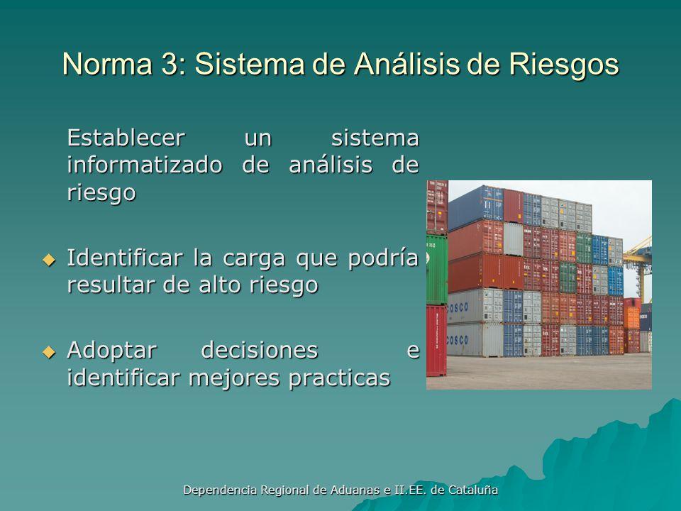 Dependencia Regional de Aduanas e II.EE. de Cataluña Debe tener autorización para inspeccionar todas las cargas Debe tener autorización para inspeccio