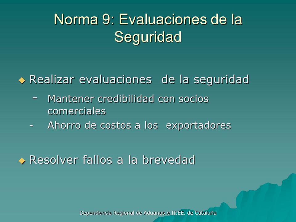 Dependencia Regional de Aduanas e II.EE. de Cataluña Norma 8: Evaluación del Rendimiento Mantener informes estadísticos con mediciones del rendimiento