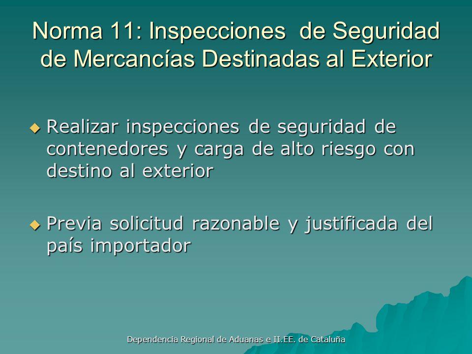 Dependencia Regional de Aduanas e II.EE. de Cataluña Norma 10: Integridad de los funcionarios Requiere programas para: Prevenir lapsos en la integrida