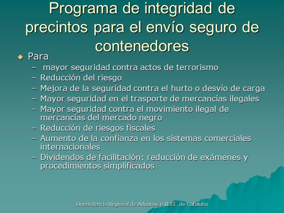 Dependencia Regional de Aduanas e II.EE. de Cataluña Norma 11: Inspecciones de Seguridad de Mercancías Destinadas al Exterior Realizar inspecciones de