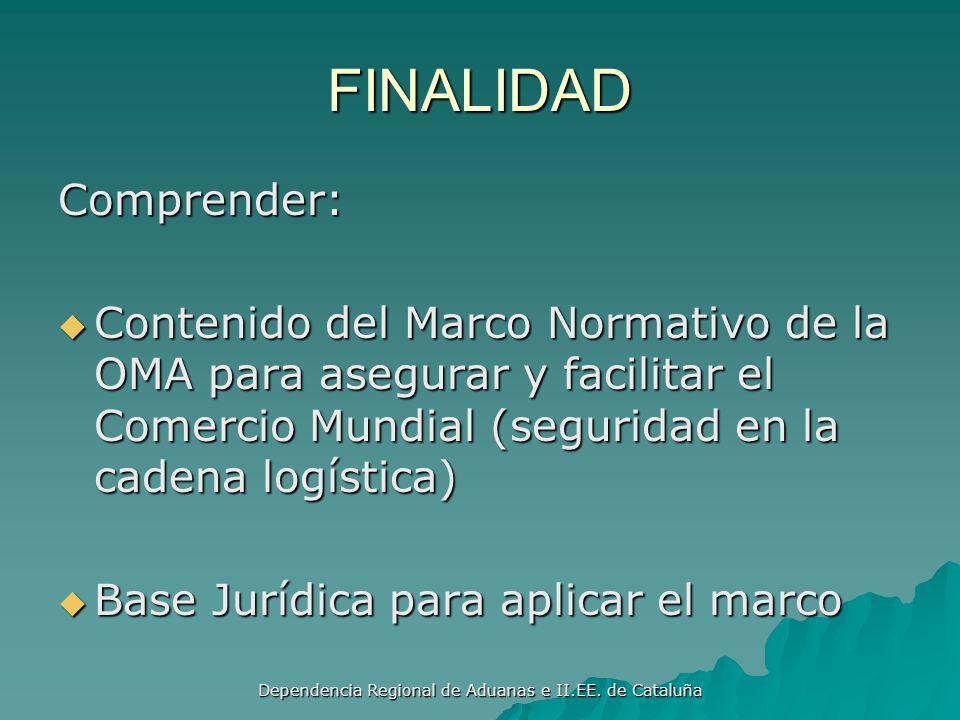 Dependencia Regional de Aduanas e II.EE. de Cataluña Elementos básicos El marco armoniza los requisitos relativos a la información electrónica previa
