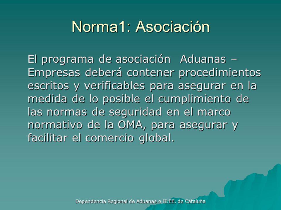 Dependencia Regional de Aduanas e II.EE. de Cataluña Normas pilar aduana-empresas Asociación Asociación Seguridad Seguridad Autorización Autorización