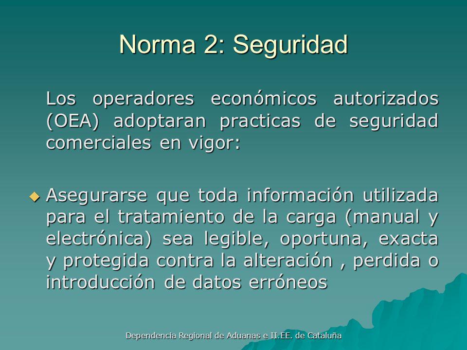 Dependencia Regional de Aduanas e II.EE. de Cataluña Norma1: Asociación El programa de asociación Aduanas – Empresas deberá contener procedimientos es