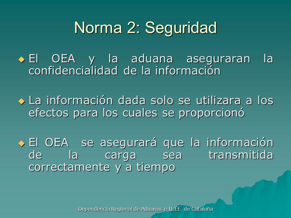 Dependencia Regional de Aduanas e II.EE. de Cataluña Norma 2: Seguridad Los operadores económicos autorizados (OEA) adoptaran practicas de seguridad c