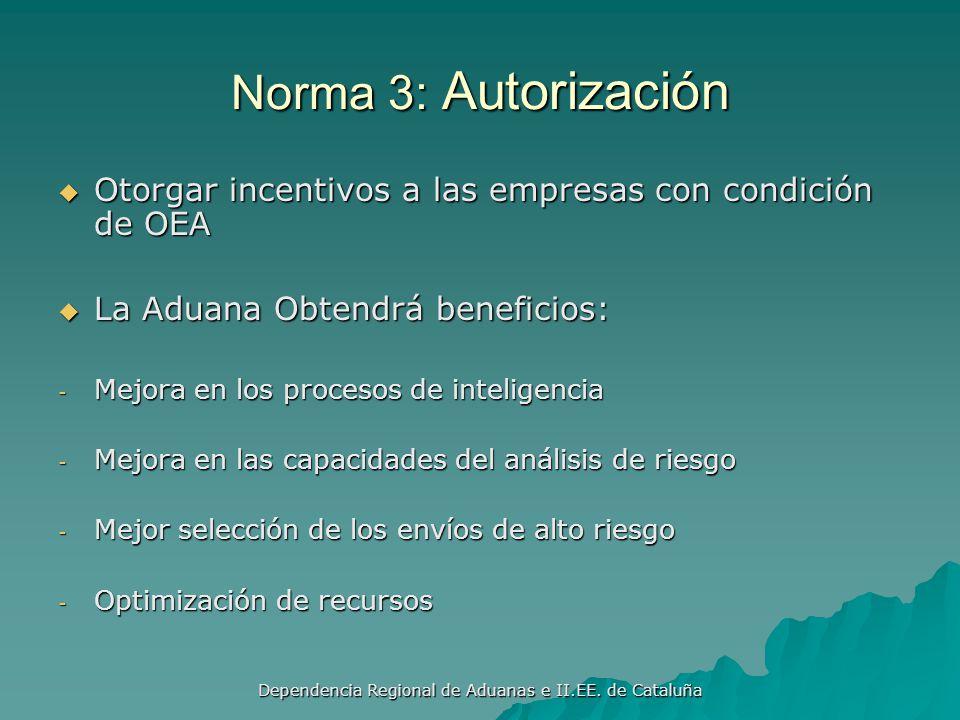 Dependencia Regional de Aduanas e II.EE. de Cataluña Norma 2: Seguridad El OEA y la aduana aseguraran la confidencialidad de la información El OEA y l