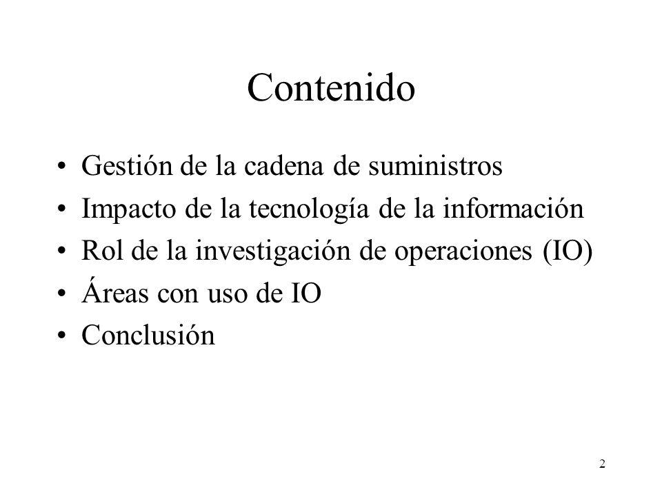 2 Contenido Gestión de la cadena de suministros Impacto de la tecnología de la información Rol de la investigación de operaciones (IO) Áreas con uso de IO Conclusión